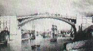 Shipping passing under the bridge - 1840s